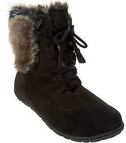 Cuddl Duds Lace-up Boots with Faux Fur Trim -Bee