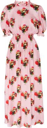 ADAM by Adam Lippes Printed Smocked Silk Dress