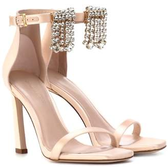 Stuart Weitzman Fringe Square Nudist 100 satin sandals