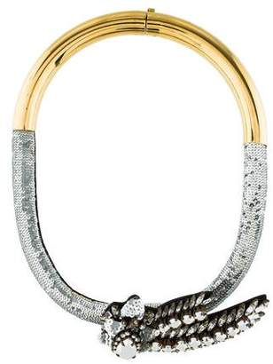 Shourouk Crystal & Sequin Comet Collar Necklace
