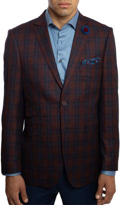 English Laundry Men's Slim-Fit Elbow-Patch Plaid Sport Jacket, Red