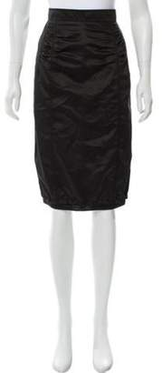 Nina Ricci Ruched Knee-Length Skirt w/ Tags Black Ruched Knee-Length Skirt w/ Tags