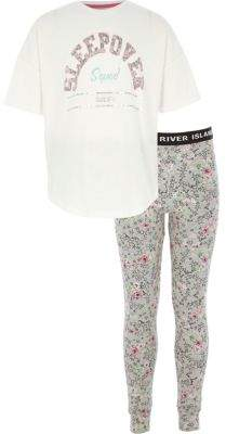 River Island Girls grey 'sleepover' pajama leggings set