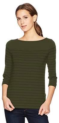Three Dots Women's Pinstripe 3/4 SLV British mid Shirt