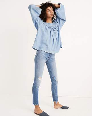 """Madewell 9"""" High-Rise Skinny Jeans in Frankie Wash: Torn-Knee Edition"""