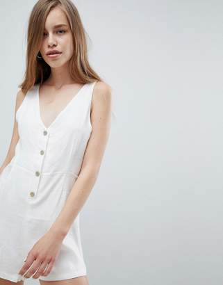Pull&Bear button detail romper in white