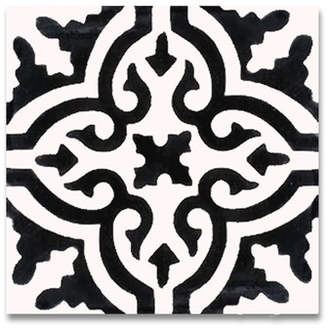 Moroccan Mosaic Tile House Argana 8 x 8 Handmade Cement Tile in White/Black