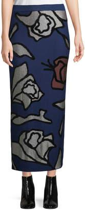 Christian Wijnants Kordi Floral-Jacquard Hand Design Straight Long Skirt