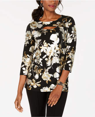 JM Collection Cutout Printed Top, Created for Macy's