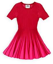 Milly Kids' Colorblocked Rib-Knit Fit & Flare Dress-Red