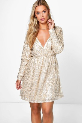 boohoo Plus Sequin Wrap Skater Dress