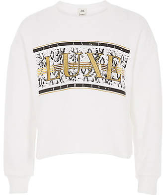River Island Girls white 'Luxe' glitter sweatshirt