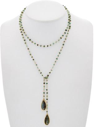 Rachel Reinhardt 14K Over Silver Emerald & Labradorite 42In Lariat Necklace