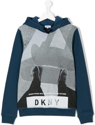 DKNY Teen skateboarder print hoodie