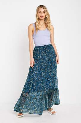Urban Outfitters Blue Floral Pinktuck Maxi Skirt