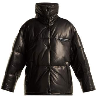 Prada Leather Puffer Jacket - Womens - Black