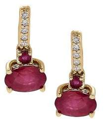 Lord & Taylor Diamond, Ruby & 14K Yellow Gold Drop Earrings