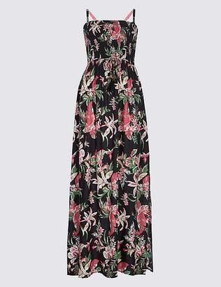 Marks and Spencer Floral Print Shirred Maxi Dress
