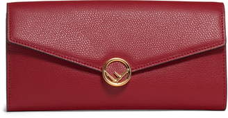 Fendi Logo Calfskin Leather Continental Wallet on a Chain