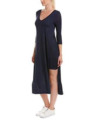 Three Dots Women's Featherweight Sweater Double v midi Loose Dress