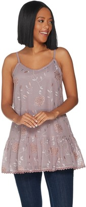 Logo By Lori Goldstein LOGO by Lori Goldstein Lavish Embroidered Mesh Camisole