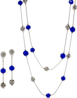 "Linea By Louis Dell'olio by Louis Dell'Olio 72"" Faceted and Pave Bead Chain Necklace Set"