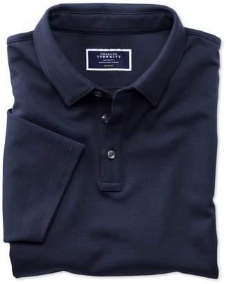 Charles Tyrwhitt Navy Jersey Cotton Polo Shirt Size Large