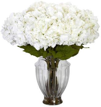 Nearly Natural Large Hydrangea w/European Vase Silk Flower Arrangement