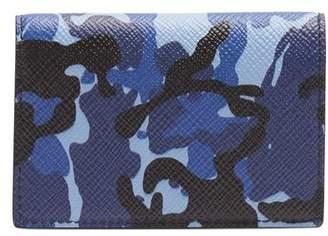 Smythson Panama Bi Fold Leather Cardholder - Mens - Blue Multi