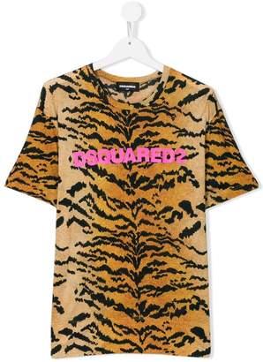 DSQUARED2 logo leopard print T-shirt