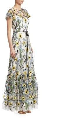 ML Monique Lhuillier Short-Sleeve Floral-Print Gown