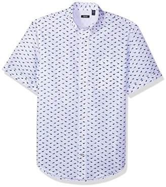 Izod Men's Big Saltwater Dockside Chambray Plaid Short Sleeve Shirt