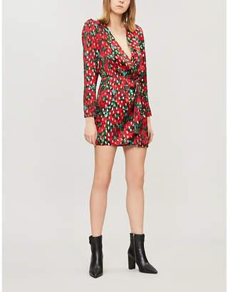 The Kooples Metallic dot floral mini dress