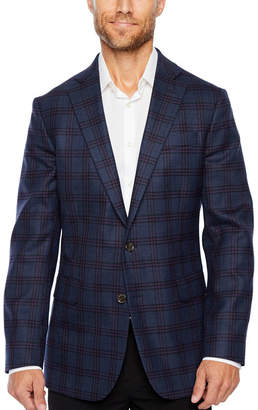 STAFFORD Stafford Merino Wool Stretch Blue Plum Checked Classic Fit Sport Coat