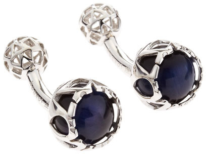 Tateossian Lotus Ball Cuff Links, Blue