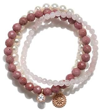 Satya Jewelry Womens Rhodonite Mandala Stretch Bracelet Set
