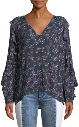 Paige Keena Floral Button-Up Ruffle Top