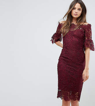Paper Dolls Tall off shoulder crochet midi dress with frill sleeve