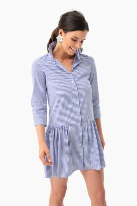 The Shirt by Rochelle Behrens Blue Striped Drop Waist Shirt Dress