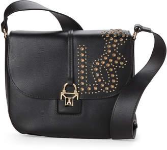 Patrizia Pepe Black Love Studded Leather Crossbody