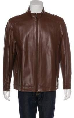 Kiton Leather Zip Jacket w/ Tags
