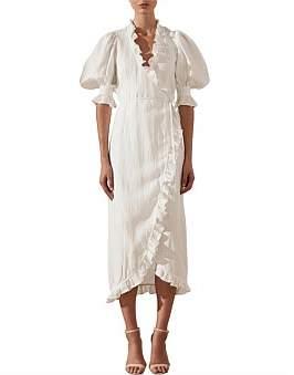 Shona Joy Holden Puff Sleeve Wrap Midi Dress