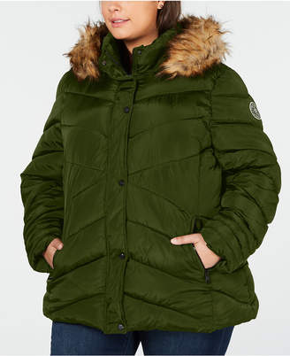 Madden-Girl Juniors' Plus Size Faux-Fur-Trim Hooded Puffer Coat