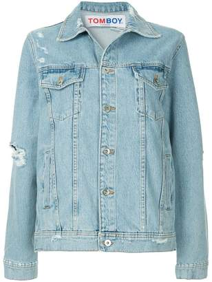 Filles a papa distressed logo denim jacket