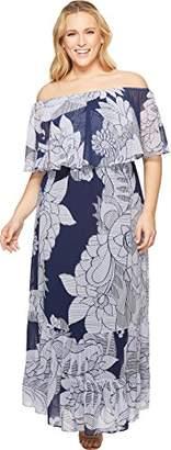 Donna Morgan Women's Plus Size Off The Shoulder Maxi Dress