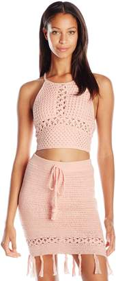 MinkPink Women's Woven Together Crochet Cover Up Top