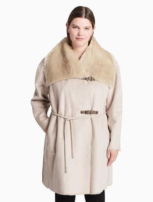 Calvin Klein plus size faux shearling buckle coat