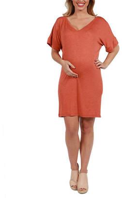 24/7 Comfort Apparel Ashton Maternity Shift Style Mini Dress - Plus