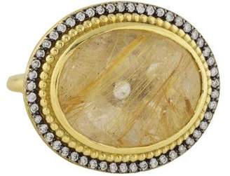 Ralph Lauren K 18K Rutilated Quartz & Diamond Ring