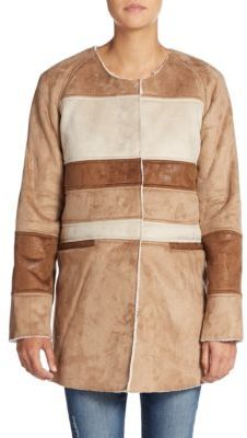 Patchwork Faux Shearling Coat